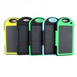 Power Bank с солнечной батареей, 5000 мАч                                                                                         (Цвет: Зелёный  )