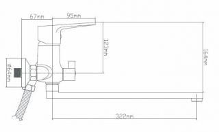 B8282-45F Смеситель для ванны из латуни, ø40