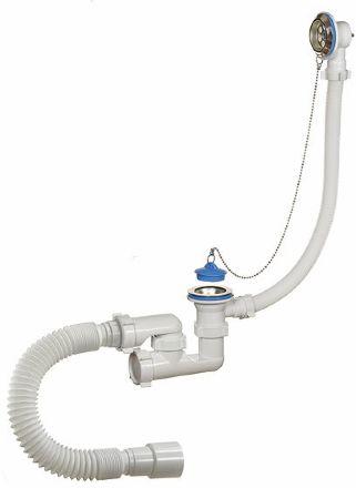 """А-80089 Сифон для ванны 1 1/2""""х40, регулируемый, с переливом и гибкой трубой 40-40/50"""